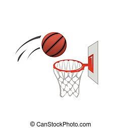 basket ball and basket illustration