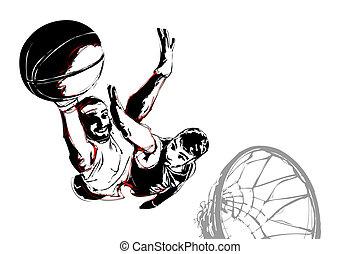 basket-ball, baston