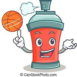 basket-ball, caractère, pulvérisation, boîte aérosol, dessin animé