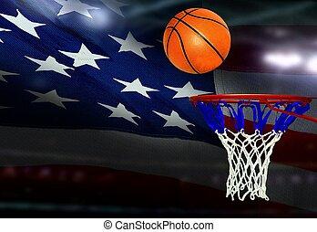 basket-ball, coup, cerceau, drapeau, américain, fond