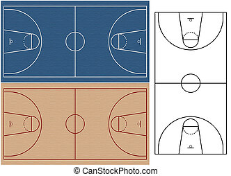 basket ball courts with realistic surfaces