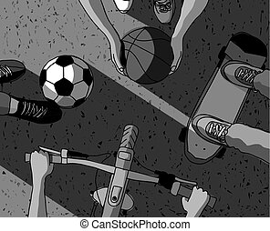 basket-ball, cyclisme, sommet, football, grayscale, sports, rue, divers, skateboarding, vue