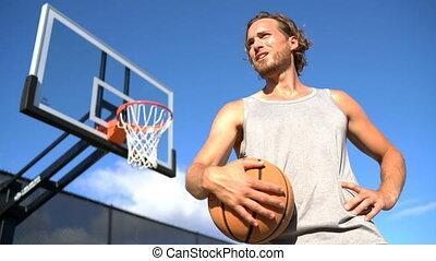basket-ball, dehors, ville parc, balle, tenue, tribunal, homme