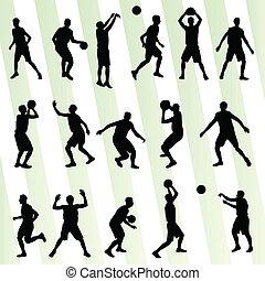 basket-ball, ensemble, vecteur, fond, silhouette, homme