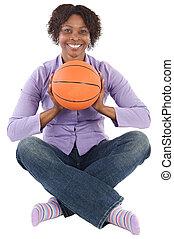 basket-ball, femme, balloon