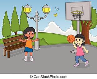 basket-ball, filles, jouer