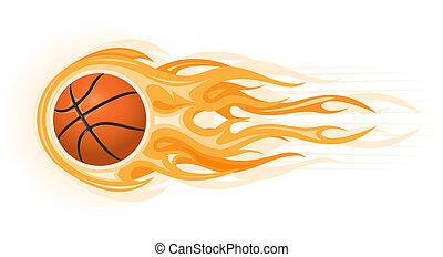 basket-ball, flamme, balle