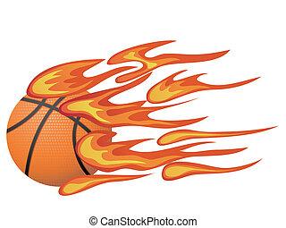basket-ball, flamme