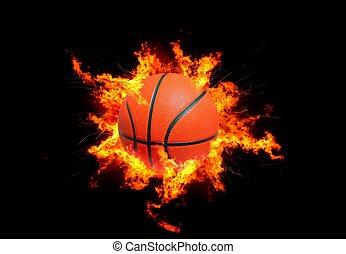 basket-ball, flammes