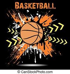 basket-ball, fond, balle, blots, résumé
