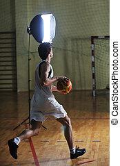 basket ball game player at sport hall