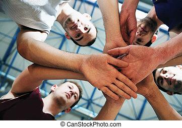 basket ball game player at sport hall - basket ball players...