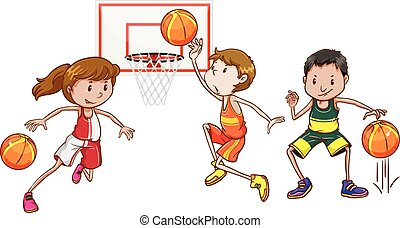basket-ball, gens, jouer, trois