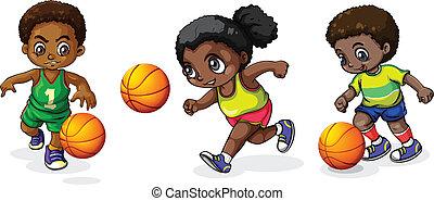 basket-ball, gosses, jouer