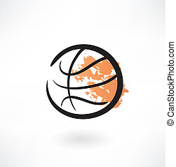 basket-ball, grunge, icône
