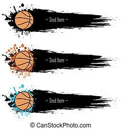 basket-ball, grunge, remettre ensemble, dessiné, bannières