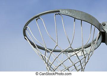 Basket Ball Hoop with blue sky behind it.