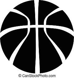 basket-ball, icône, simple, noir, style
