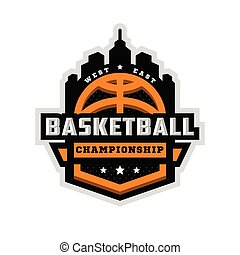 basket-ball, illustration., championnat, sports, vecteur, emblem., logo