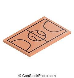 basket-ball, illustration., isométrique, vecteur, cour de récréation, icône