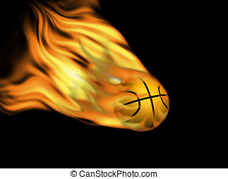 basket ball in flames against black