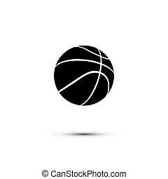 basket-ball, isolé, balle, arrière-plan., vecteur, noir, blanc, icône