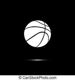basket-ball, isolé, balle, arrière-plan., vecteur, noir, ligne blanche, icône