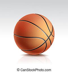 basket-ball, isolé, balle, vecteur, fond, blanc