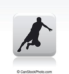 basket-ball, isolé, illustration, joueur, unique, vecteur, icône