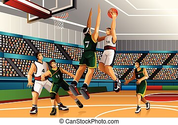 basket-ball, jouer, concurrence, gens