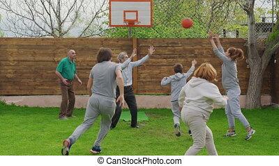 basket-ball, multi-generational, jouer, famille, outdoors.