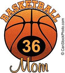 basket-ball, nombre, maman