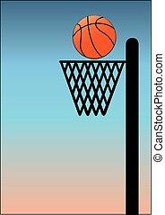 basket ball on blue background
