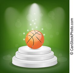 Basket Ball on White Podium with Light