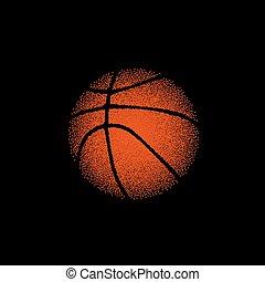 basket-ball orange, sur, noir