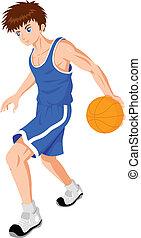 Cartoon illustration of a teenager playing basket ball