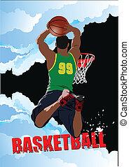 basket-ball, players., vecteur, coloré