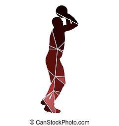 basket-ball, prise vue., saut, joueur, ge, rouges