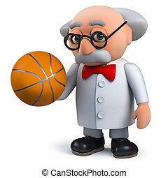 basket-ball, prof, caractère, scientifique, fou, tenue, 3d