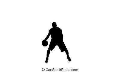 basket-ball, remplit, motion., silhouette., joueur, lent, fond, blanc, ball.