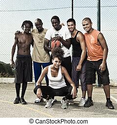 basket-ball, rue, équipe