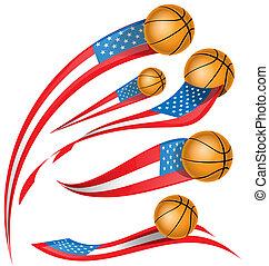 basket ball set  with USA flag
