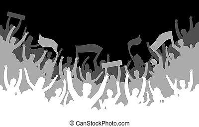 basket-ball, silhouette, concert, foule, gens, football, arrière-plan., audience, vecteur, ventilateur, hockey, handball, base-ball, football, bannière, tribune.