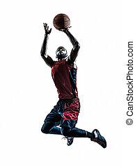 basket-ball, silhouette, lancement, joueur, sauter, homme ...
