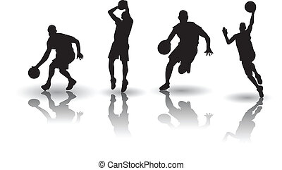 basket-ball, silhouette, vectors