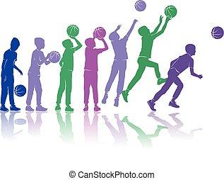 basket-ball, silhouettes, vecteur, dynamique, coloré