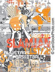 basket ball slam jam - illustration for poster and print
