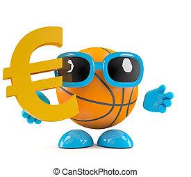 basket-ball, symbole, tient, monnaie, 3d, euro