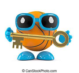 basket-ball, tenue, or, caractère, clã©, 3d