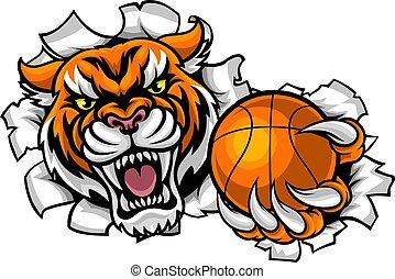 basket-ball, tenue, rupture, tigre, balle, fond
